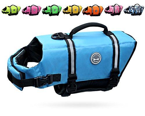 Vivaglory Dog Life Jacket Size Adjustable Dog Lifesaver Safety Reflective Vest Pet Life Preserver, Blue, Small
