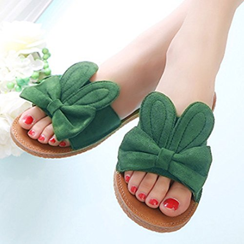 on Bowknot Suede Summer Slippers T Sandals Flat Women Comfy Dress Slip for Skid JULY Green Beach Non qwZxZ4nf6