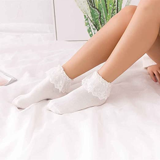 Arichtop Cotton Calcetines Vintage Lace Ruffle Frilly Ankle Socks Princess Girl Cute Sweet Women Socks White