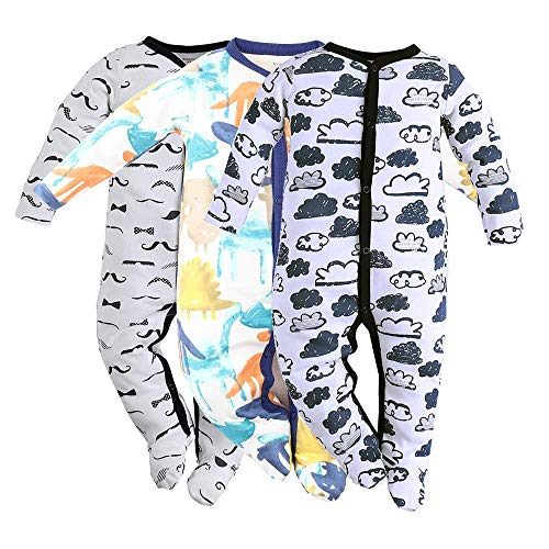 (Baby Footed Pajamas Sleeper for Boys - 3 Packs Infant Cotton Long Sleeve Jumpsuit Newborn Romper Bodysuit 3M)