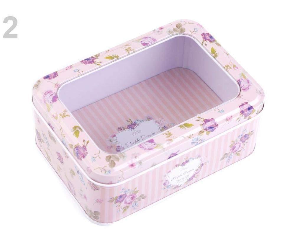 1pc 2 Vintage Pink Light Windowed Hinged Rectangular Tin Box Haberdashery Art Sewing Needlework /& Middle Size Sewing Baskets and Boxes