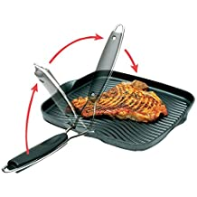 Starfrit Die-Cast Aluminum Nonstick 10-Inch Square Grill Pan with Foldable Handle