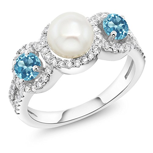 Gem Stone King 1.46 Ct Round Cultured Freshwater Pearl Swiss Blue Topaz Sterling Silver Ring (Size 8) ()
