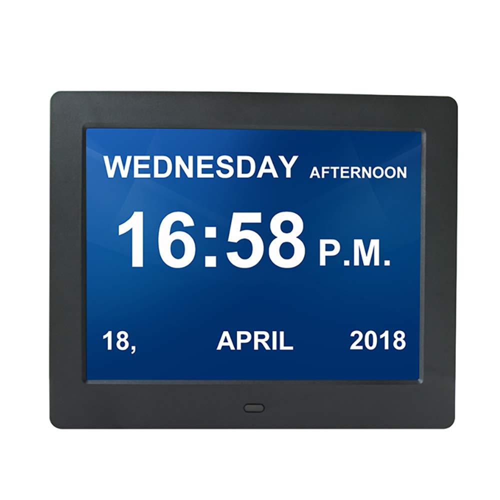 WULAU 8 Zoll Uhr Digital Wecker Kalender, Abkürzung Buchstaben in 9 hochwertige Sprache, großes Display, Alzheimer Demenz-Schwarz