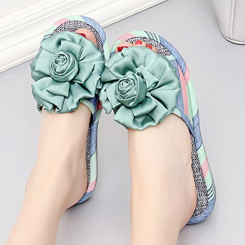 fankou Zapatillas de Mujer Cool Verano Estancia Interior Elegante Piso Antideslizante Gruesa Home Sweet Sweet Home Zapatillas,39, Rose - luz Azul