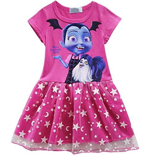 (KUFV Vampirirna Girls T-Shirt Dress Children Cosplay Pleat Dress Clothes)