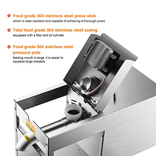 Rbaysale 1160W Commercial Oil Press Machine Hot Cold Automatic Physical Pressing Oil Expeller Electric Extractor for Home Avocado Coconut Olive Flax Peanut Castor Hemp Seed Canola Sesame Sunflower by Rbaysale (Image #3)