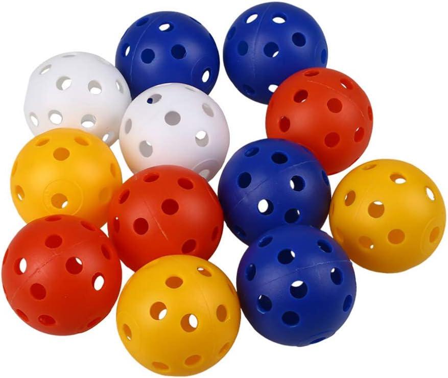 NUOBESTY 20 Piezas de Bolas de Entrenamiento de Golf de Plástico Flujo de Aire Bolas de Golf Huecas Pelota de Juguete para Niños para Práctica de Swing Práctica de Hogar Colores Mezclados