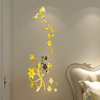Vovotrade Miroir Stickers DIY Miroir Wallpaper Multicolor Butterfly Flower  Miroir Wall Stickers Flower Butterfly Lively Wall