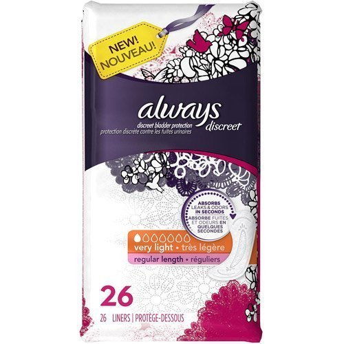 Always Discreet Bladder Protection, Reg Length, Very Light Liners, 26 Ct. (Pack of 2) (Always Liners Discreet compare prices)