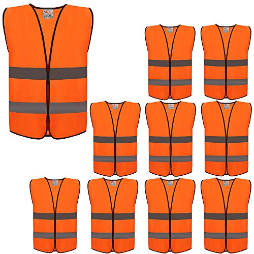 ZOJO High Visibility Safety Vests,Adjustable Size,Lightweight Mesh Fabric, Wholesale Reflective Vest for Outdoor Works, Cycling, Jogging, Walking,Sports - Fits for Men and Women (10 Pack, Neon Orange) (Safety Lights Vests)