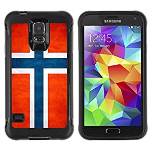 iDesign Rugged Armor Slim Protection Case Cover - Norway Grunge Flag - Samsung Galaxy S5