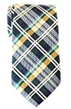 Retreez Elegant Tartan Check Woven Microfiber Men's Tie - Dark Green, Yellow and Navy Blue