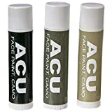 Bobby Weiner Camo Face Paint - Authentic US Army Camouflage Portable Costume Makeup - Hypoallergenic, Nontoxic, Odorless - Easy Wash Off - 0.15oz Sticks - ACU Olive, Tan, Black