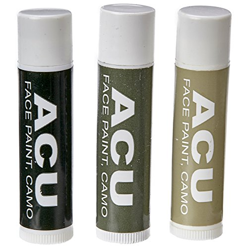 Bobby Weiner Camo Face Paint - Authentic US Army Camouflage Portable Costume Makeup - Hypoallergenic, Nontoxic, Odorless - Easy Wash Off - 0.15oz Sticks - ACU Olive, Tan, Black ()