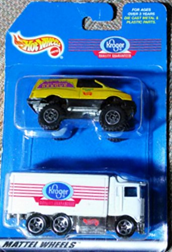 1998-hot-wheels-kroger-2-pack-white-kroger-semi-and-yellow-rocky-mountain-rescue