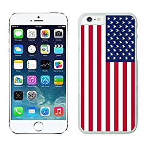 Apple Iphone 6 Plus Case, USA Flag Design Phone Case Cover for Iphone 6 5.5 Inch Screen, White Iphone 6 Plus Hard Shell Cover American Flag Design