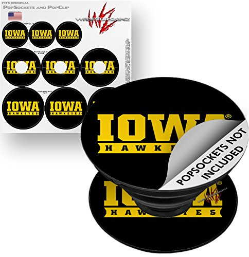 Decal Style Vinyl Skin Wrap 3 Pack for PopSockets Iowa Hawkeyes 03 Black on Gold (POPSOCKET NOT INCLUDED) by WraptorSkinz