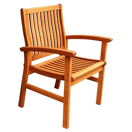 ALK Brands Hawaii Outdoor Hardwood Dining Arm Chair (Natural Wood Finish) -