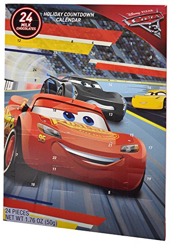 Disney Cars 3 Chocolate Advent Calendar with 24 Milk Chocolates for Holiday Countdown