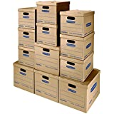 Bankers Box SmoothMove Classic Moving Kit Boxes, Tape-Free Assembly, Easy Carry Handles, 8 Small 4 Medium, 12 Pack (7716401)