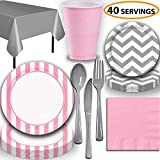 Disposable Tableware, 40 Sets - Lovely Pink and Silver - Striped Dinner Plates, Chevron Dessert Plates, Cups, Lunch Napkins, Cutlery, and Tablecloths: Premium Quality Party Supplies Set