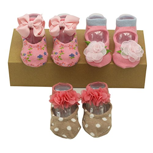 Nihao Baby 3d Baby Socks 0-12/12-24 Months 2t Grip Shoe Socks for Girls (3 pack) (Rose, 12-24 months) for $<!--$18.90-->