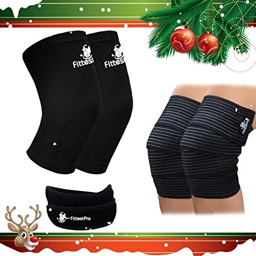 Knee Sleeve Package - Knee Compression Sleeve (1 Pair) & Knee Wrap (1 Pair) with (1 FREE) Knee Patella Strap - Knee Brace & Knee Support for Patella Tendonitis, Jumpers and Runners Knee (Knee Sleeves Package compare prices)