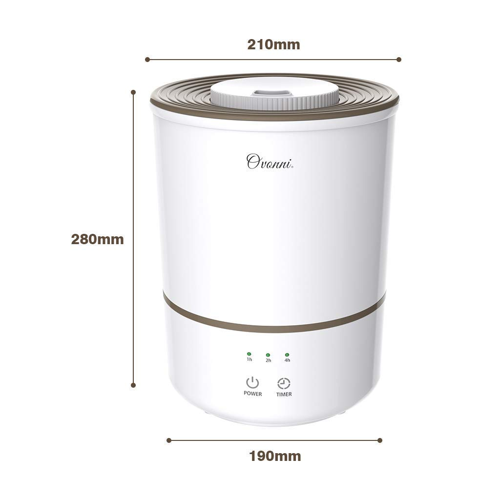 Ovonni Ultrasonic Cool Mist Humidifier Large Capacity 3L Humidifiers Vaporizer with Whisper-Quiet/&Auto Shut-Off Protection,Air Humidifying 300ml//h Max Adjustable Mist for Home Baby Bedroom Office