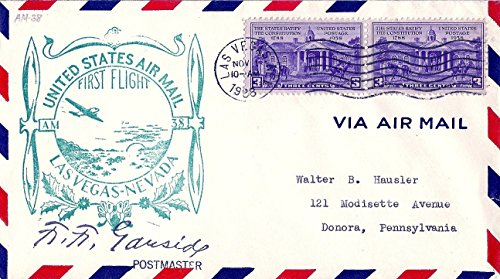 Air Mail Cover 1938 First Flight Las Vegas Nevada Postmaster Signed Scott # 835 Postage Stamps X2