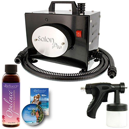 Belloccio Salon Pro T200-12, 2 Stage Turbine Sunless HVLP Spray Tanning System; Free 4 oz. Opulence Tanning Solution & User Guide DVD (Turbine Stage)