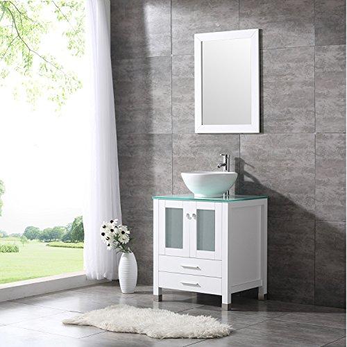 Bathjoy 24 white wood bathroom vanity cabinet round bowl - Bathroom vanity and mirror combo ...