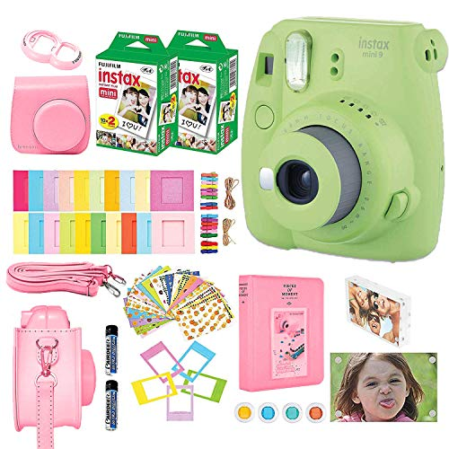 Fujifilm Instax Mini 9 Kids Instant Camera + Fuji Instax Film (40 Sheets) + Accessories Bundle, Case, Acrylic Magnetic Picture Frames, Batteries, Color Filters, Photo Album, More (Lime Green)