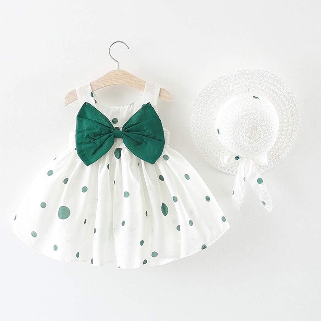 Baby Girl Kids Summer Sleeveless O-Neck Print Floral Bow Princess Dress 0-24 Months