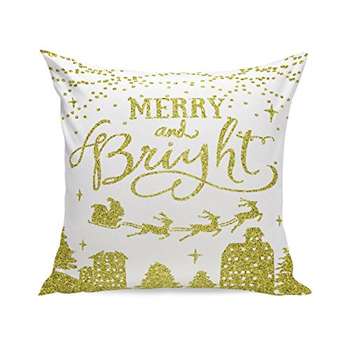 Birdfly Christmas Decor Sparkles Print Soft Throw Pillow Cases Graphic Glitter Designs Jolly X-mas Square Cushion Covers Decorative Pillowcase Home Office Kids Room Sofa Party Car Cafe Decoration (C) (Glitter Graphics Christmas)