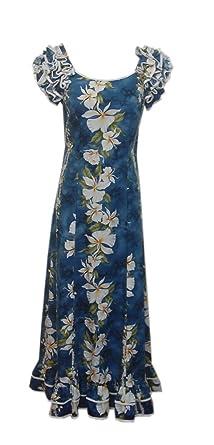 Jade Fashions Inc. Womens Hawaiian Cotton Blue Ginger Ruffle Sleeves Long Dress-Blue-