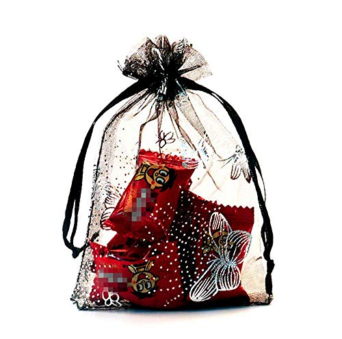 (Drawstring gift bags 50 pcs silver butterfly Sheer Organza Wedding Holidays Favor Bags Shower 5.75