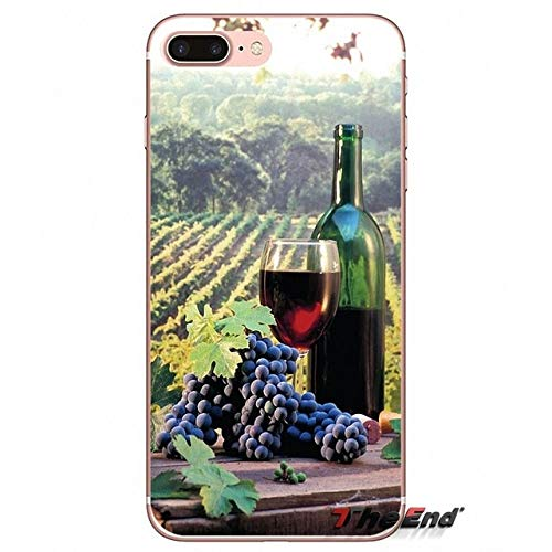 one 6 Plus Sized Case, Bigger Screen Alcoholic Beverage 6S Plus Cover Vineyard Grapes Plantation Pattern Wineglass Bottle Magnum Goblet Glass Vines Green Putple Red, Silicone ()