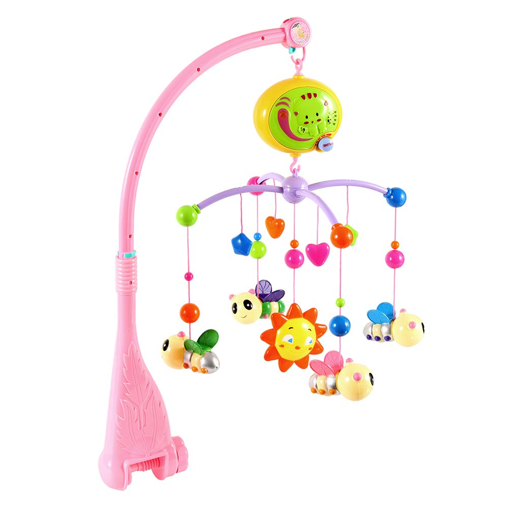 Green Baby Musical Cot Mobile Portable Colorful Electric Rotating Music Bed Bell Set for Girl /& Boy Infant Toddler