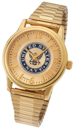 Men's US Navy USN Gold Plated Bulova US Armed Forces Military Watch