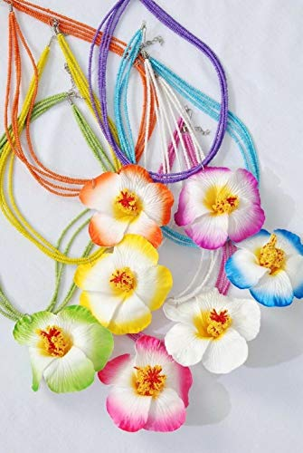 (12 Hawaiian Necklace LOT Luau Bead Plumeria Flower Party Favor Costume Jewelry IDE-373)