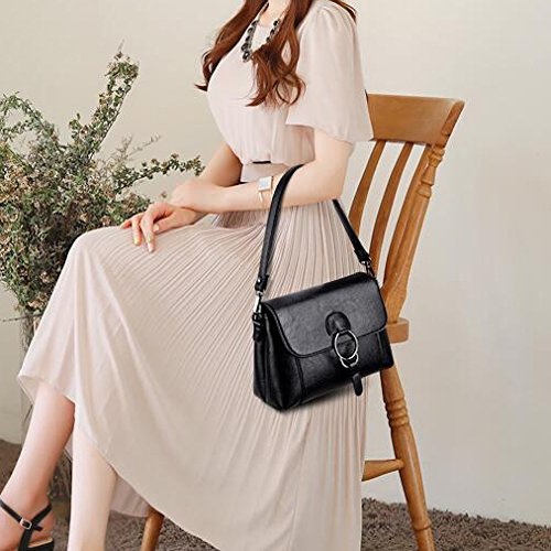 Shoulder Crossbody Gray PU Purple Handbag Bronze Red Black Black Women's Bags Leather Bag ApSwqOx