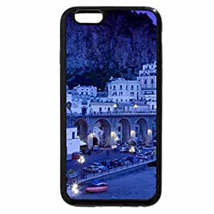 iPhone 6S Plus Case, iPhone 6 Plus Case (Black & White) - gorgeous italian seaside town in blue dusk
