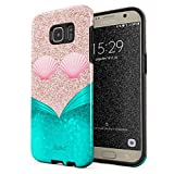 Glitbit Compatible with Samsung Galaxy S7 Edge Case Mermaid Tail Sea Shell Glitter Sparkle Cute Tumblr Heavy Duty Shockproof Dual Layer Hard Shell + Silicone Protective Cover