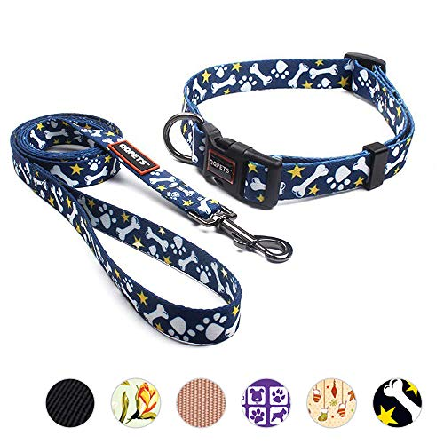 Collar Bone Dog Adjustable (QQPETS Heavy Duty Dog Collar and Leash Set for Medium Puppy Breed Female Male Up to 70lbs Adjustable Neck:13-21inch Durable Nylon Quick Release Buckle Cute Bone Pattern Blue)