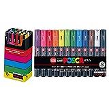 Uni-posca Paint Marker Pen BUNDLE SET , Mitsubishi Pencil Uni Posca Poster Colour Marking Pens Extra Fine Point 12 Colours (PC-1M12C) , Fine 15 Colors (PC-3M15C) - Japan Import