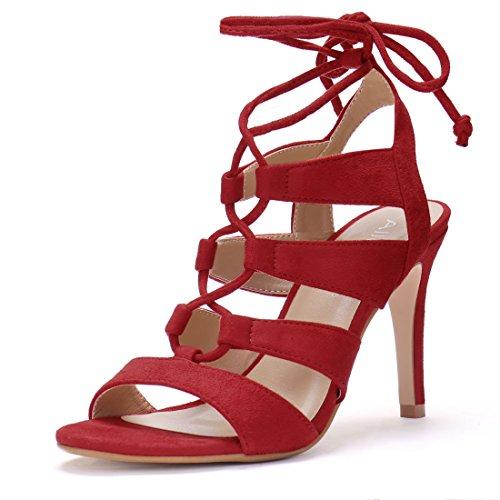 4ee8937c66d6 new Allegra K Women s Open Toe Cutout Stiletto Heel Lace Up Sandals ...