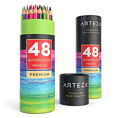 ARTEZA Watercolor Pencils, Soft-Core, Triangular-Shaped, Pre-sharpened (Pack of 48)