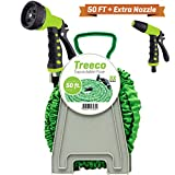 New Expandable Garden Water Hose kit 50 ft Kink-Free Triple Latex. Lightweight & heavy duty flexible collapsible by Treeco with nozzle sprayer & gun set with reel