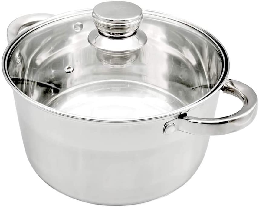 Aegean 06 Stockpots Stainless Steel Cookware 9-Quart Glass cover Thickening handle Soup pot(6 QT)